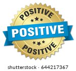 positive round isolated gold... | Shutterstock .eps vector #644217367