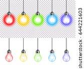 colorful lightbulbs isolated on ... | Shutterstock .eps vector #644221603