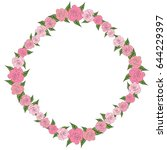 a round  uniform frame of roses ...   Shutterstock . vector #644229397