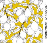 seamless pattern with lemons.... | Shutterstock .eps vector #644229907