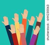 people vote hands. raised hands ... | Shutterstock .eps vector #644230063