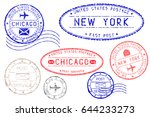 postmarks new york and chicago. ... | Shutterstock .eps vector #644233273