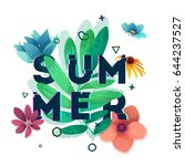 design banner with summer text. ... | Shutterstock .eps vector #644237527