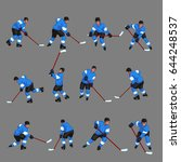 colored hockey player set 3   Shutterstock .eps vector #644248537