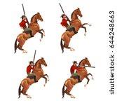 Set Of Vector Cowboy Riding...