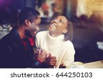 young happy man and woman... | Shutterstock . vector #644250103