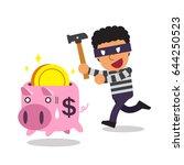 cartoon thief with piggy bank | Shutterstock .eps vector #644250523