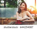 wonderful young asian woman... | Shutterstock . vector #644254087