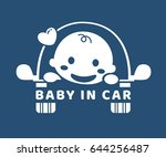 baby in car. sticker. flat... | Shutterstock .eps vector #644256487