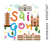 saigon or ho chi minh city ... | Shutterstock .eps vector #644267167