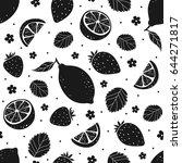strawberry and lemon black... | Shutterstock .eps vector #644271817