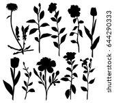 vector silhouette flowers  rose ... | Shutterstock .eps vector #644290333