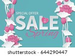 spring sale banner template... | Shutterstock .eps vector #644290447