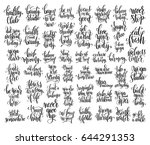 set of 50 hand lettering... | Shutterstock .eps vector #644291353