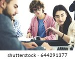 crew of skilled it programmers... | Shutterstock . vector #644291377