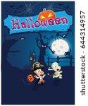 halloween vector illustration...   Shutterstock .eps vector #644314957