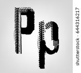grunge tire letter p. unique... | Shutterstock .eps vector #644316217