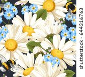 camomile seamless pattern | Shutterstock .eps vector #644316763
