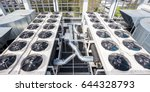 on an flat roof there cooling... | Shutterstock . vector #644328793