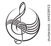 logo of a black treble clef.    Shutterstock .eps vector #644328913