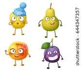 funny fruit characters isolated ... | Shutterstock .eps vector #644347357
