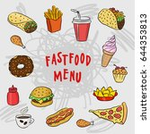 fast food and mexican cuisine... | Shutterstock .eps vector #644353813