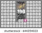 mega set of 100 hand lettering... | Shutterstock .eps vector #644354023