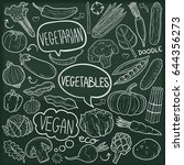 vegetables vegan food doodle... | Shutterstock .eps vector #644356273