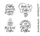 hand drawn coffee related... | Shutterstock .eps vector #644361277
