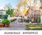 small cosy street of famous... | Shutterstock . vector #644369413