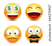 smiley smiling emoticon. yellow ... | Shutterstock .eps vector #644370907