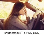stressed woman driver sitting... | Shutterstock . vector #644371837