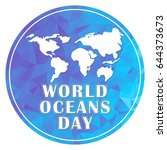 world oceans day concept poster ... | Shutterstock .eps vector #644373673