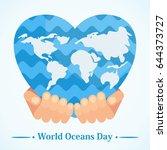 hand holding world map in shape ... | Shutterstock .eps vector #644373727