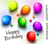 birthday greeting card with... | Shutterstock .eps vector #644379577