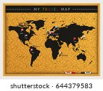 travel map with flags map... | Shutterstock .eps vector #644379583