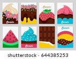 collection of cute cards. food  ... | Shutterstock .eps vector #644385253