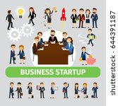 business people group . smiling ... | Shutterstock . vector #644391187