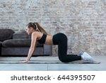 pretty slim sportswoman... | Shutterstock . vector #644395507