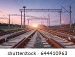 modern railway station at night ... | Shutterstock . vector #644410963