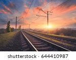 railroad and beautiful sky at... | Shutterstock . vector #644410987