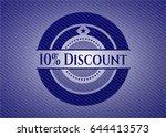 10  discount badge with denim... | Shutterstock .eps vector #644413573