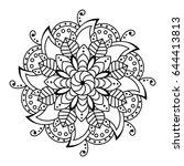 black pattern vector flower...   Shutterstock .eps vector #644413813