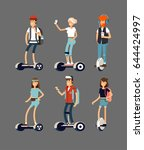 set of active young peoples... | Shutterstock .eps vector #644424997