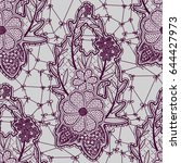 lace lilac seamless pattern... | Shutterstock .eps vector #644427973