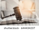 double exposure of judge gavel  ... | Shutterstock . vector #644434237