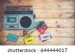 top view hero header   retro... | Shutterstock . vector #644444017