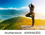 a hipster woman doing yoga pose ... | Shutterstock . vector #644446303