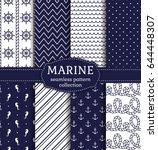 set of marine and nautical... | Shutterstock .eps vector #644448307