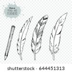 hand drawn of pencil and... | Shutterstock .eps vector #644451313